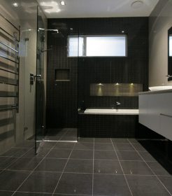 Sydney Bathroom Renovators - Black Bathroom With Flooring Tiles