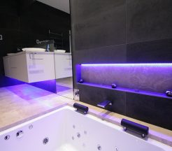Sydney Bathroom Renovators - Black tile bathroom with light under sink cabinet