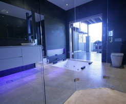 Sydney Bathroom Renovators - bathroom with glass entrance and floor bathtub