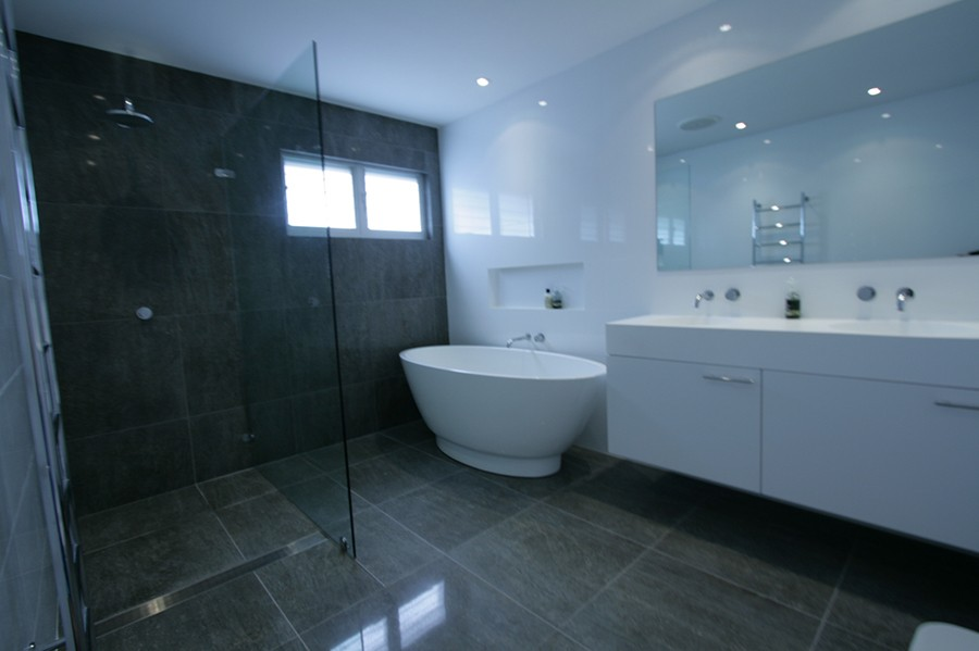 Sydney Bathroom Renovators - black tiled bathroom - Sydney Bathroom ...