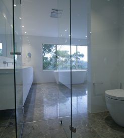 Sydney Bathroom Renovators - Large bathroom with glass door shower