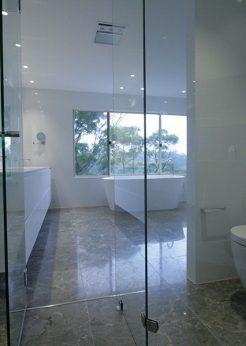 Sydney Bathroom Renovators - Large bathroom with glass door shower