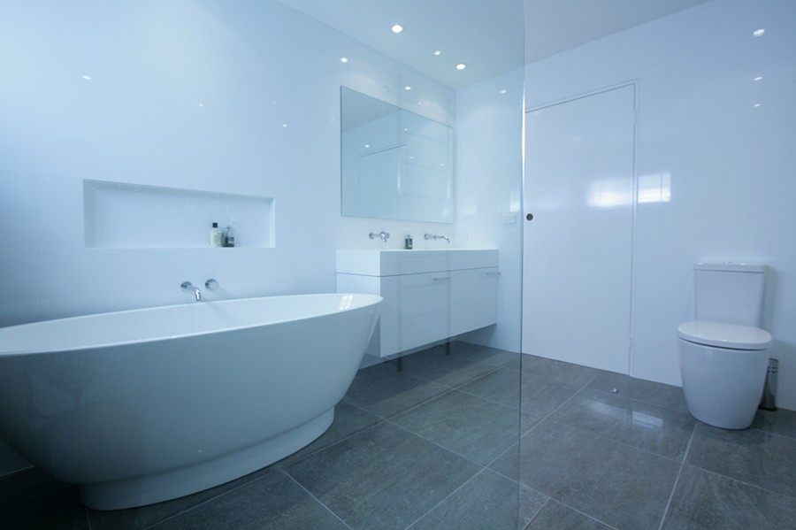 Sydney Bathroom Renovators With Grey Flooring Tiles And White Walls View On Bathtub