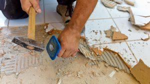Bathroom Renovation - Tiles removing