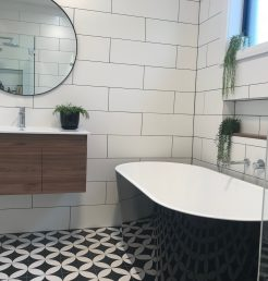 Contemporary Bathroom Renovations Miranda with Patterned Tile Floor