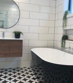 Contemporary Bathroom Renovations Miranda with Patterned Tile Floor