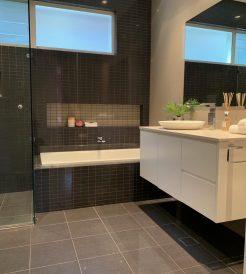 Modern Dark Tiles Bathroom Renovations Miranda