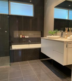 Modern Dark Tiles Bathroom Renovations Miranda