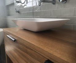Modern Natural Timber Vanity with Black Handles Bathroom Remodeling Sydney