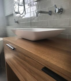 Modern Natural Timber Vanity with Black Handles Bathroom Remodeling Sydney