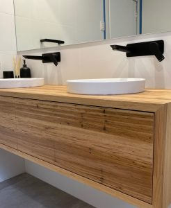 Natural Look Timber Vanity with Black Fittings Modern Bathroom Renovations Sydney